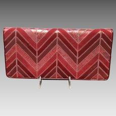 Vintage Huge Leiber Chevron Pattern Mixed Materials Handbag/Clutch***Like New***
