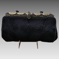 Vintage French Matelasse Evening Purse with Jeweled Frame