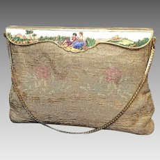 Vintage Steel Beaded French Evening Purse with Enameled Figural Frame