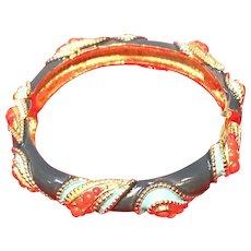Vintage Rader Enameled Clamper Bracelet with Faux Coral Stones