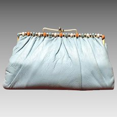 "Vintage ""Ingber"" Foldover Clutch with Jeweled Frame"