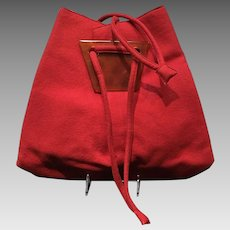 Vintage Josef Huge Red Felt Drawstring Handbag with Faux Tortoise Accents