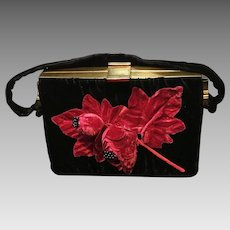 Vintage Ingber Velvet Handbag with Huge Floral Decoration