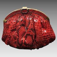 Vintage Colombetti Red Python Purse