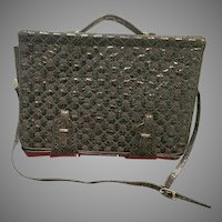 Vintage Leiber Snakeskin Briefcase with Trapunto Embroidery