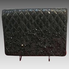 Vintage Leiber Python Clutch with Trapunto Embroidery and Gems