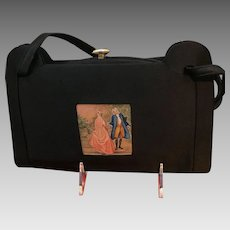 Vintage French Silk Purse with Miniature Hand Painting