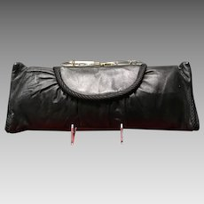 Vintage Oversized Leather Baguette Purse with Stylized Lucite Accents