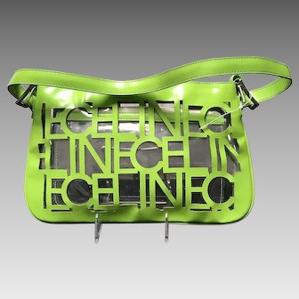 Vintage Celine Clear Vinyl Shoulder Bag with Cut Outs ***Never Used***