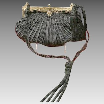"""Vintage """"Revivals"""" Silk Evening Purse with Jeweled Frame"""