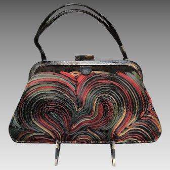 Vintage Claudia Ciuti Colorful Ribbon Bands Handbag