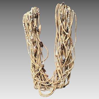 Vintage Huge Gerda Lynggaard Multi Strand Necklace with Shells ***Signed***
