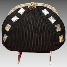 Vintage Leiber Ribbed Silk Evening Purse with Swarovski Crystals