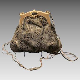 Vintage Grace Agostino Karung Lizard Handbag with Celluloid Frame