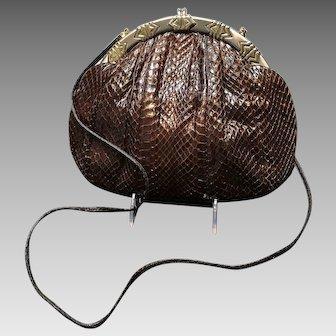 "Vintage Leiber Python Handbag with Silver and Gold Tone ""Deco"" Frame"