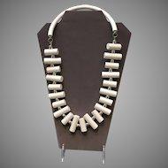 """VIntage Judith Hendler White Acrylic """"Peg"""" Necklace"""
