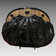Vintage Judith Leiber Python with Scalloped Frame and Semi Precious Onyx Stones