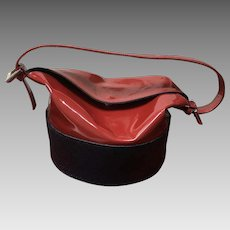 Vintage Renaud Pellegrino Sculptural Woven/Patent Leather Mini Bucket Handbag
