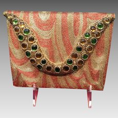 Vintage Metallic Thread and Jeweled Purse From Bombay