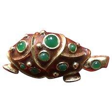 Vintage Lanvin Enameled Turtle Brooch with Jewels