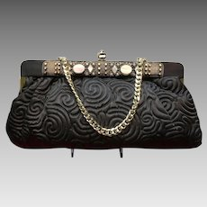 Vintage Fay Mell Huge Evening Purse the Matelasse Stitching and Ornamentation