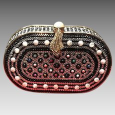 Vintage Minaudiere with Stones and Snake Head Clasp
