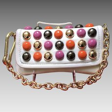 Vintage Betsey Johnson Funky Leather Bag with Colorful Accents