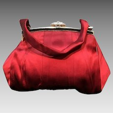 VIntage French Ruby Red Silk Purse with Jeweled Clasp