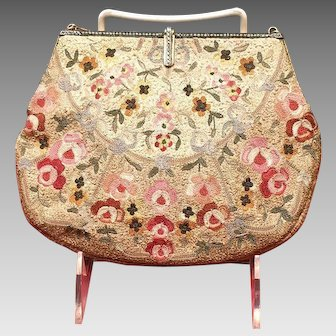 Vintage Silk Stitch Embroidered Purse with Jeweled Frame