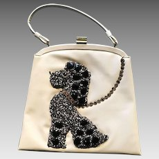 "Vintage Soure Large Beaded ""Poodle"" Handbag with Heavy Beading"