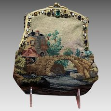 Vintage Petit Point Scenic Handbag with Jeweled Frame***