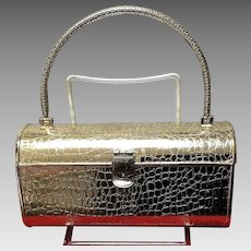 Vintage Lilly Dache Embossed Snakeskin Gold Tone Hard Cased Minaudiere with Handle