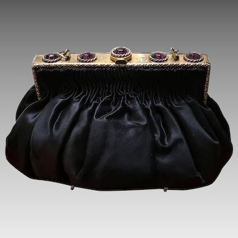 Vintage Silk Evening Purse with Jeweled Frame