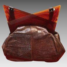 """Vintage Snakeskin Handbag with Lucite """"Deco"""" Frame"""