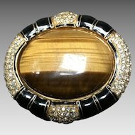 "Vintage Ciner Rare Huge Tiger Eye, Crystal and Enamel ""Enhancer"""