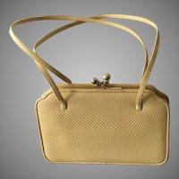 "Vintage Judith Leiber ""Sunshine"" Yellow Karung Handbag"