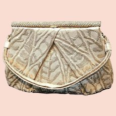 Vintage Soure Gold Brocade Evening Purse with Glitzy Frame