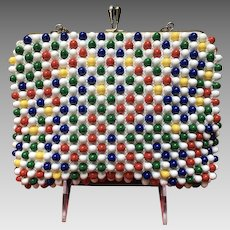 """Vintage """"Funky"""" Large Beaded Purse with Primary Colors"""