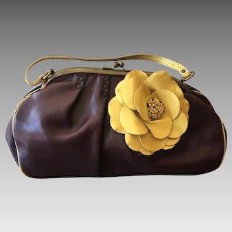 Vintage Jamin Puech Large Satchel Handbag with 3-D FLower