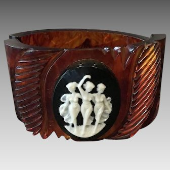 Vintage Root Beer Bakelite Clamper Style Bracelet with Celluloid Cameo