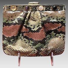 Vintage Leiber Python Purse with Dual Sided Jeweled Frame