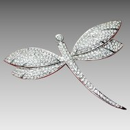 Vintage Grosse Dragonfly Brooch with Diamante Set Rhinestones