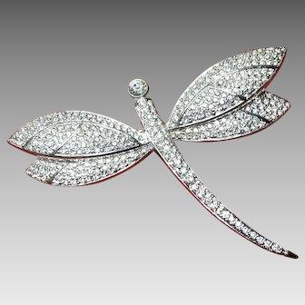 Vintage Grosse Dragonfly Brooch with Diamante Set Rhinestones
