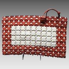 "Vintage ""Plasticflex"" Extra Large Red/White Plastic Tiles Clutch"