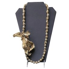 Vintage Lanvin Gold Metallic Ribbon Necklace with Silver Tone Beads