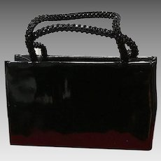 Vintage Judith Leiber Patent Leather Small Bag with Jeweled Swarovski Handles