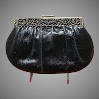 Vintage Leiber Karung Reptile Purse with Open Work Frame