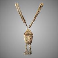 Vintage Pauline Rader Etruscan Style Bold Necklace