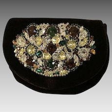 Vintage Heavily Jeweled Velvet Clutch