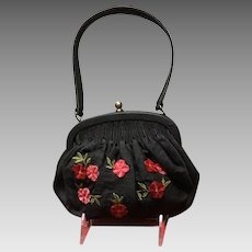 Vintage Talbots Small Silk Handbag with Velvet Flowers